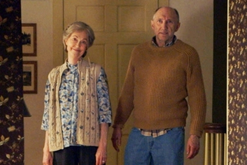 """FILM STILL - FOR SUNDAY - (L to R) Tyler (ED OXENBOULD) is terrified by Nana (DEANNA DUNAGAN) and Pop Pop (PETER MCROBBIE) in Universal Pictures' """"The Visit"""". Writer/Director/ Producer M. Night Shyamalan returns to his roots with the terrifying story of a brother and sister who are sent to their grandparents' remote Pennsylvania farm for a weeklong trip. Once the children discover that the elderly couple is involved in something deeply disturbing, they see their chances of getting back home are growing smaller every day."""